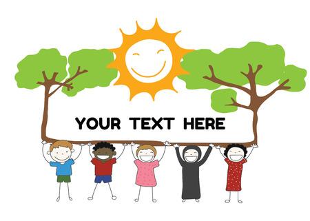 나무와 태양 레이블을 보유하는 어린이 다양성 텍스트 벡터에 대 한 미소 일러스트