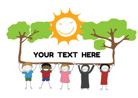 summer girl: children diversity holding label with tree and sun smile for your text vector