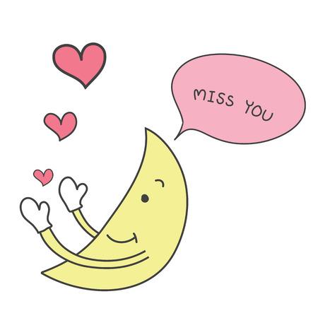 노란 달 손으로 그려진 귀여운 핑크 심장을 보내고 단어와 함께 당신이 벡터를 그리워합니다