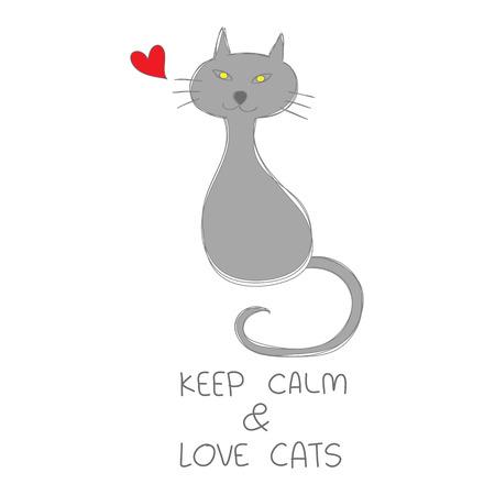 """붉은 마음 함께 앉아 회색 고양이 손을 그려 및 따옴표 """"진정 고양이 사랑""""벡터 일러스트"""