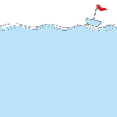 푸른 바다에 떠있는 붉은 깃발으로 보트를 블루 손으로 그린 스타일 wtih 텍스트 벡터에 대 한 공간 일러스트