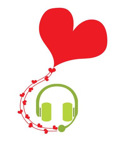 헤드폰 및 서비스 마음에 대 한 붉은 마음 마이크와 연설 거품 헤드폰 또는 dj 사랑 직업 벡터의 마음