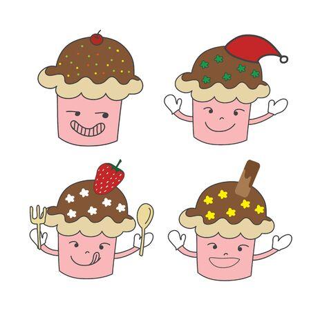 만화 손으로 그린 먹고 캐릭터 크리스마스 모자, 딸기와 웨이퍼 벡터를 사용 하여 설정 일러스트