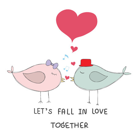 """몇 조류 음악 노트와 붉은 마음 키스 """"함께 사랑에 빠지다""""단어로 파스텔 색상 손으로 그려진 된 벡터 일러스트"""