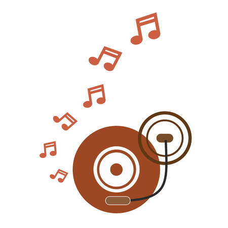 turntable: music turntable disc brown retro with music notes vector