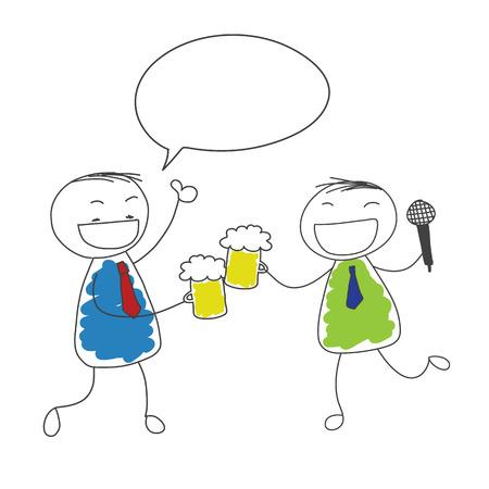 두 사업가 마시는 맥주와 노래와 하얀 거품 음성 낙서 벡터와 성공을위한 엄지 손가락