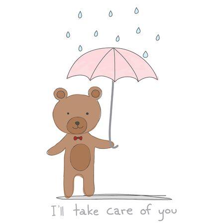 """갈색 곰 비가 손으로 그린 스타일 핑크 우산을 들고와 """"나는 당신을 돌봐 줄 것""""벡터를 인용"""