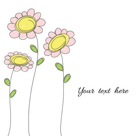 노란색과 분홍색 파스텔 색 꽃 텍스트 벡터에 대 한 공간을 가진 낙서