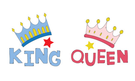 couple crown king and queen hand drawn for T-shirt couple or decorate vector
