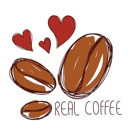 붉은 마음 손으로 그린 갈색 커피 콩 및 word 진짜 커피 벡터
