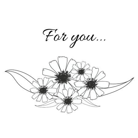 꽃 꽃다발 잎 및 단어 당신을 위해 그려진 손 인사말 카드, 장식, 초대 카드에 대 한 벡터 사용 일러스트