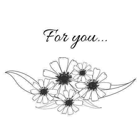flowers bouquet hand drawn with leaf and word for you vector use for greeting card,decorate,invitation card