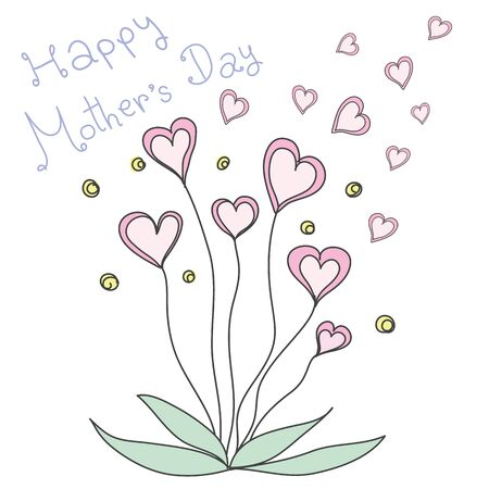 pink heart flowers pastel color  with word Happy Mother's Day 일러스트
