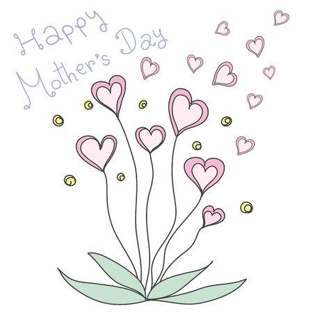 Rosa Herz Blumen in Pastellfarben mit Wort glückliche Tag der Mutter Standard-Bild - 54920048