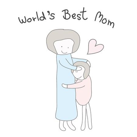 세계 최고의 엄마와 함께 하트 파스텔 컬러로 아이들을 안아주는 엄마.
