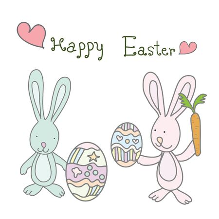 two reabbits holding easter eggs and carrot with word Happy Easter