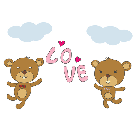 couple bear happy with love and pink hearts and blue sky vector