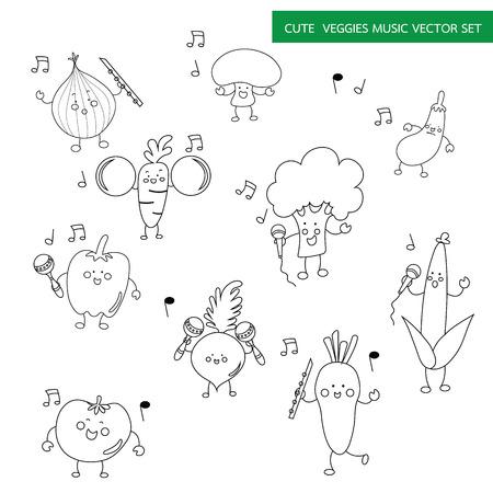 veggy with music instrument cartoon black line drawing set