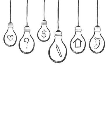 lightbulb with icon inside hand drawn background