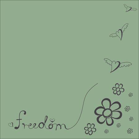 Herz fliegen mit Wort Freiheit und flowersfor Hintergrund Standard-Bild - 54920052