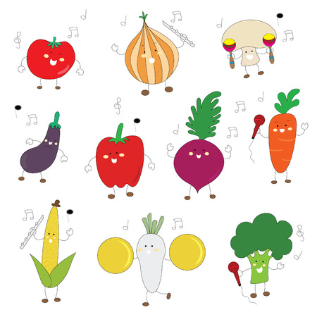 veggies color cute character with music instrument set