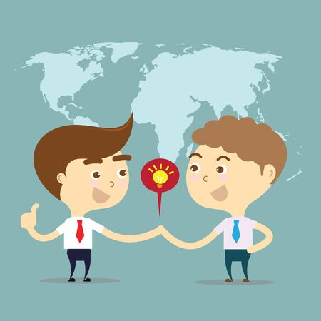 two businessman shake hands for sell idea around the world with world map background
