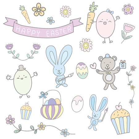 happy easter  cute pastel set