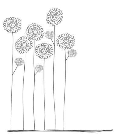 귀여운 스타일의 꽃 낙서 스톡 콘텐츠 - 54920058