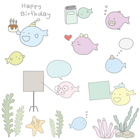 cute seaweed and fish cartoon character style 일러스트