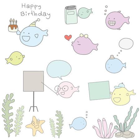 cute seaweed and fish cartoon character style Ilustração
