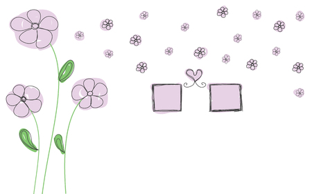 purple flowers with photo frame and heart for decorate wall sticker 일러스트
