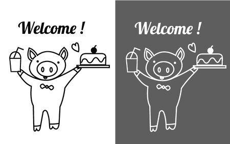 Nettes Schwein hält Eis Glas und Kuchen mit Wort willkommen für Aufkleber und dekorieren Standard-Bild - 54920062