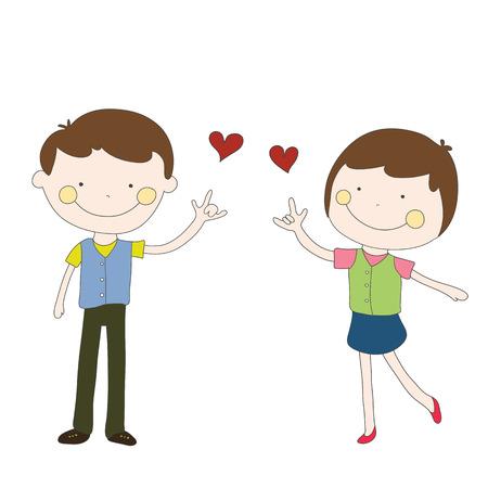 Jungen und Mädchen rotes Herz für Paar-T-Shirt oder ein Element gesendet Standard-Bild - 54920122