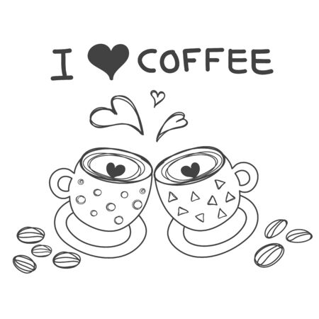 two coffee cups with heart word I love coffee and coffee bean  for wall sticker or decorate