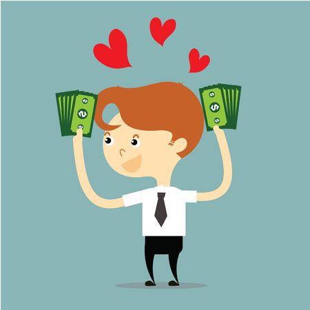 businessman holding money with red heart vector Ilustração