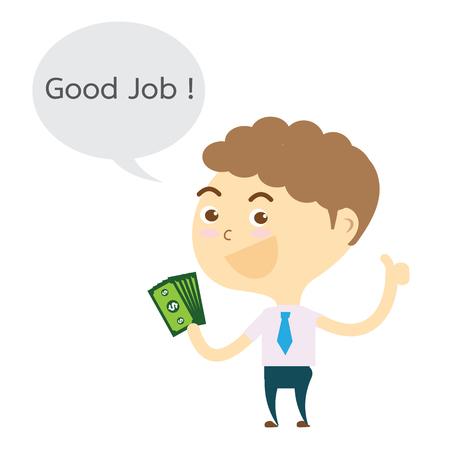 businessman holding money and thumb up good job! vector
