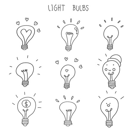 light bulb hand drawn vector icon set