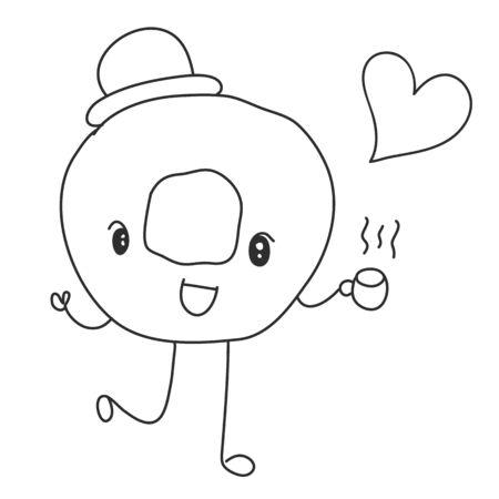 donut holding hot coffee and heart Ilustração