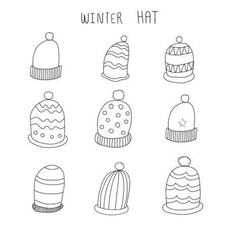 winter hat hand drawn vector set