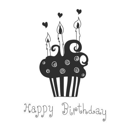 cupcake hand drawn happy birthday
