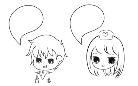 doctor and nurse with bubble speech anime style hand drawn set