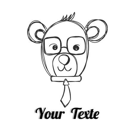 Mr.Bear with necktie hand drawn vector
