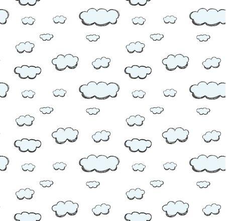 cloud hand drawn cute pastel seamless pattern vector Ilustração