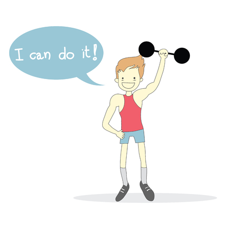 man Weight-lifting with word I can do it! vector Ilustração
