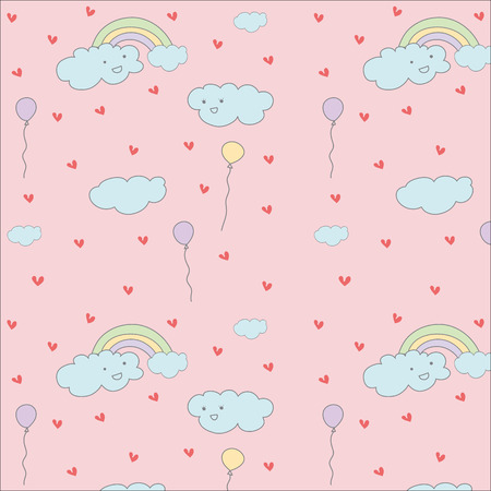Cloud,rainbow and balloon cute hand drawn pastel vector pattern 일러스트