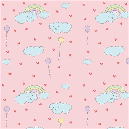 Cloud,rainbow and balloon cute hand drawn pastel vector pattern Ilustração