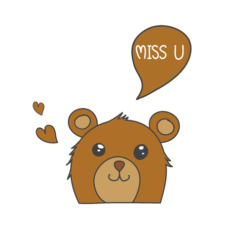 Brown bear smile with speech bubble Miss U and brown heart vector for background or card