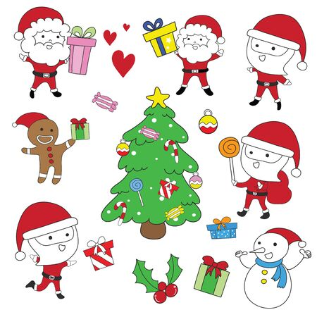 Santa Claus,cookie Christmas,Snowman and Christmas tree vector set