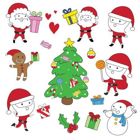 Santa Claus,cookie Christmas,Snowman and Christmas tree vector set