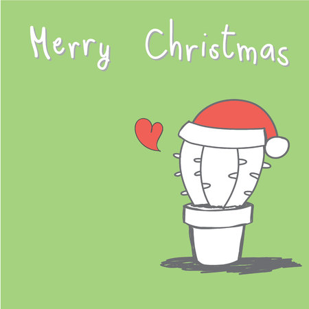 cute hand drawn cactus with red heart and Merry Christmas greeting card vector Ilustração
